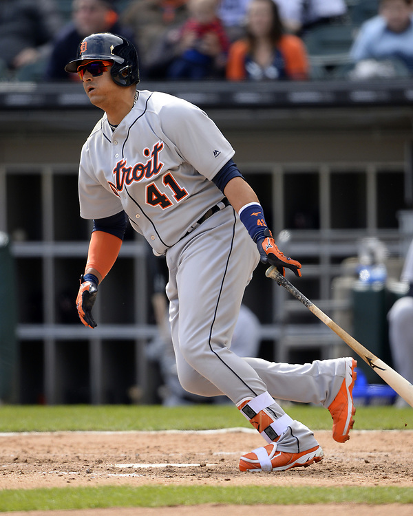CHICAGO - APRIL 04:  Victor Martinez #41 of the Detroit Tigers bats during the game against the Chicago White Sox on April 04, 2017 at Guaranteed Rate Field in Chicago, Illinois.  The Tigers defeated the White Sox 6-3.  (Photo by Ron Vesely)   Subject:  Victor Martinez
