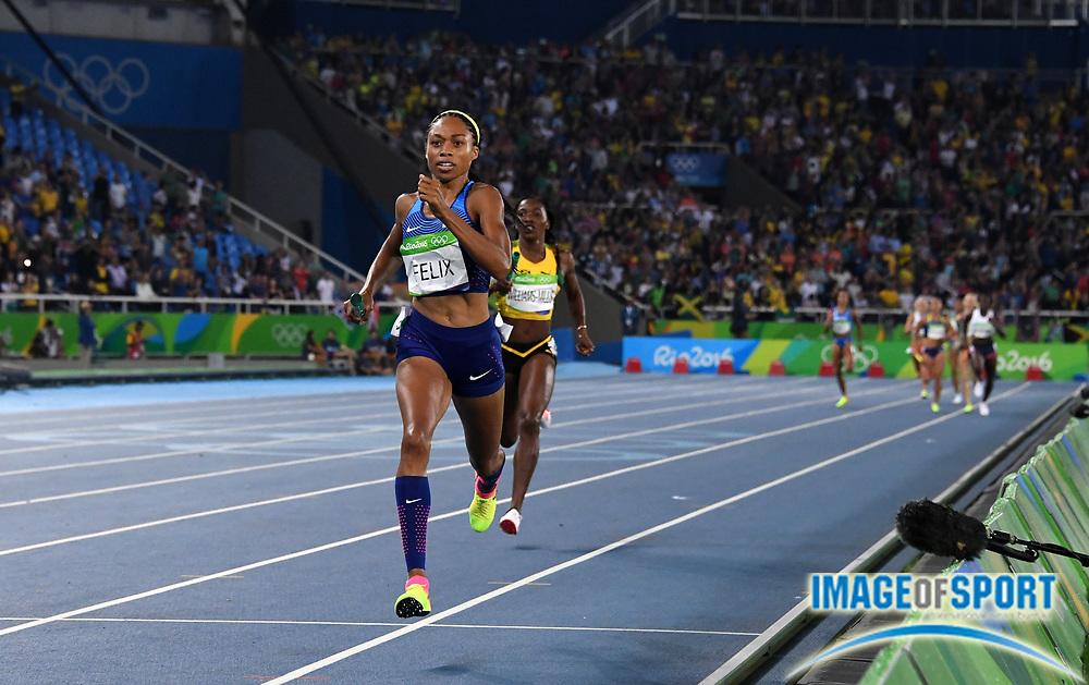 Aug 18, 2016; Rio de Janeiro, Brazil; Allyson Felix (USA) defeats Novlene Williams-Mills (JAM) on the anchor of the women's 4 x 400m relay, 3:19.06 to 3:20.34, during the 2016 Rio Olympics at Estadio Olimpico Joao Havelange. <br /> <br /> *