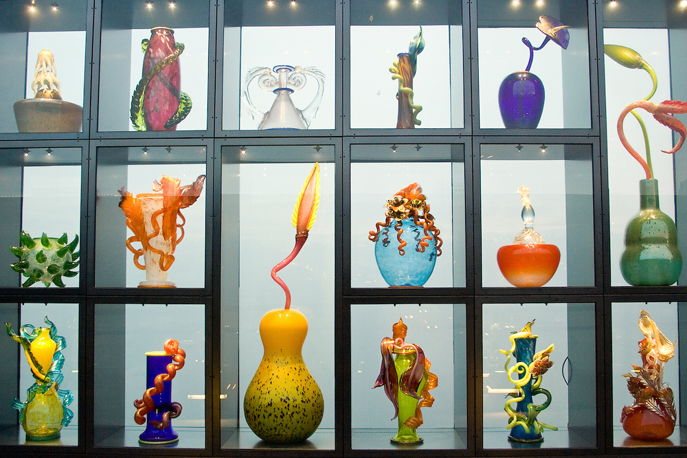 Venetian Wall, glass art by Dale Chihully on Chilhuly Bridge of Glass near Museum of Glass, Tacoma, Washington, USA