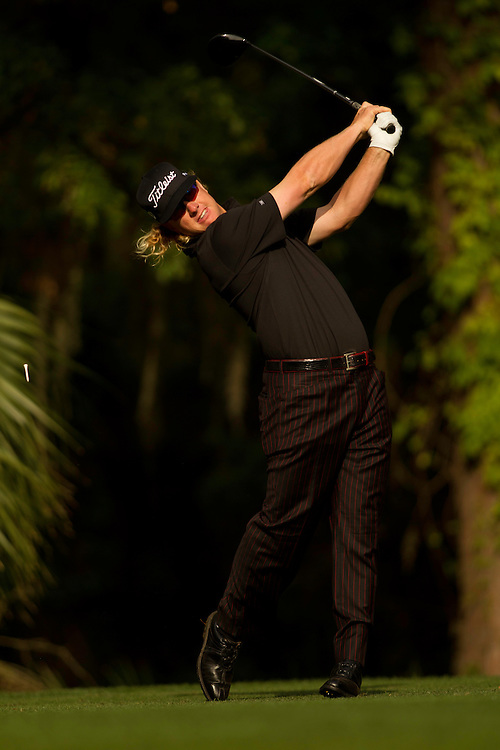 HILTON HEAD ISLAND, SC - APRIL 13: Charley Hoffman plays a tee shot during the second round of the 2012 RBC Heritage at Harbour Town Golf Links in Hilton Head Island, South Carolina on April 13, 2012. (Photograph ©2012 Darren Carroll) *** Local Caption *** Charley Hoffman