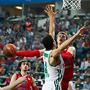 CSKA Moscow's Andrey Vorontsevich (R) during their Euroleague Final Four semi final Game 1 basketball match CSKA Moscow's between Panathinaikos at the Sinan Erdem Arena in Istanbul at Turkey on Friday, May, 11, 2012. Photo by TURKPIX
