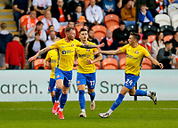 Football - 2021 / 2022 EFL Carabao Cup - Round Two - Blackpool vs. Sunderland -Bloomfield Road - Tuesday 24th August 2021<br /> <br /> Aiden O'Brien of Sunderland urges on his team mates after he scores their first goal to make it 1-1, at Bloomfield Road.<br /> <br /> COLORSPORT/Alan Martin