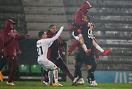 Milan players celebrate their victory after the penalty shoot-out with goalkeeper Donnarumma during the Europa League match between Rio Ave FC and AC Milan at Estadio dos Arcos, Vila do Conde, Portugal on 1 October 2020.