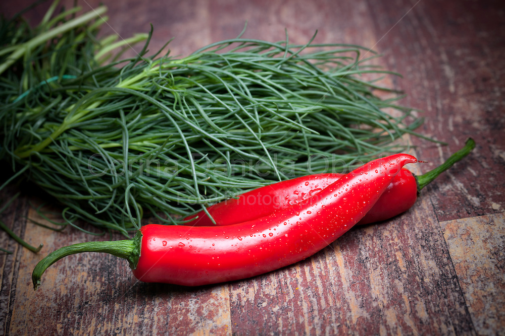 Fresh ingredients from the garden: agretti (saltwort) and red hot chili peppers.