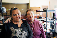 Rita DeLeo, left, and Sister Barbara Muck, who is a long-serving advocate for the needy, in the clothing room at the First Methodist Church in Salinas. The program at the church provides meals, counseling resources and occasional shelter to many who need assistance.