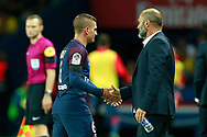 Paris Saint-Germain's Italian midfielder Marco Verratti shakes hands with Toulouse Football Club's French coach Pascal Dupraz during the French championship L1 football match between Paris Saint-Germain (PSG) and Toulouse, on August 20, 2017, at the Parc des Princes, in Paris, France - Photo Benjamin Cremel / ProSportsImages / DPPI