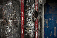 Weathered wall engraved with chinese characters, Hanoi, Vietnam, Southeast Asia