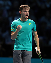 Belgium's David Goffin celebrates winning the first set against Spain's Rafael Nadal during day two of the NITTO ATP World Tour Finals at the O2 Arena, London.