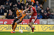 Wolverhampton Wanderers defender Kortney Hause and Middlesbrough striker David Nugent tussle for the ball during the Sky Bet Championship match between Wolverhampton Wanderers and Middlesbrough at Molineux, Wolverhampton, England on 24 October 2015. Photo by Alan Franklin.