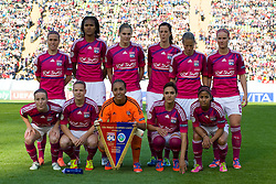17.05.2012, Olympiastadion, Muenchen, GER, UEFA CL, Finale Damen, Olympic Lyon (FRA) vs FFC Frankurt (GER), im Bild The Lyon team line up before the UEFA Champions League final for women played at the Olympia Stadion and contested by Olympic Lyon from France and FFC Frankurt from Germany. Lyon won the match 2-0 , Germany on 2012/05/17 . EXPA Pictures © 2012, PhotoCredit: EXPA/ Mitchel Gunn