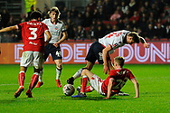 Joe Pritchard (34) of Bolton Wanderers is tackled by Joe Morrell (28) of Bristol City during the The FA Cup fourth round match between Bristol City and Bolton Wanderers at Ashton Gate, Bristol, England on 25 January 2019.
