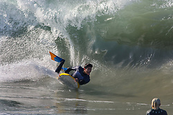 July 6, 2018 - Newport Beach, California, United States - July 6, Newport Beach, California_USA_  At a surf sport known as ''the Wedge'' a body boarder takes advantage of the cool water and big waves hitting Southern California. Inland the temperatures are reaching the 100's.  _Photo Credit: Photo by Charlie Neuman (Credit Image: © Charlie Neuman via ZUMA Wire)