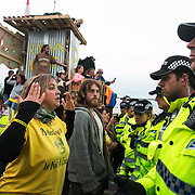 13 local activists locked themselves in specially made arm tubes to block the entrance to Quadrilla's drill site in New Preston Road, July 03 2017, Lancashire, United Kingdom. Councillor Miranda Cox arrived back to the protest after having been released from jail. The 13 activists included 3 councillors; Julie Brickles, Miranda Cox and Gina Dowding and Nick Danby, Martin Porter, Jeanette Porter,  Michelle Martin, Louise Robinson,<br />