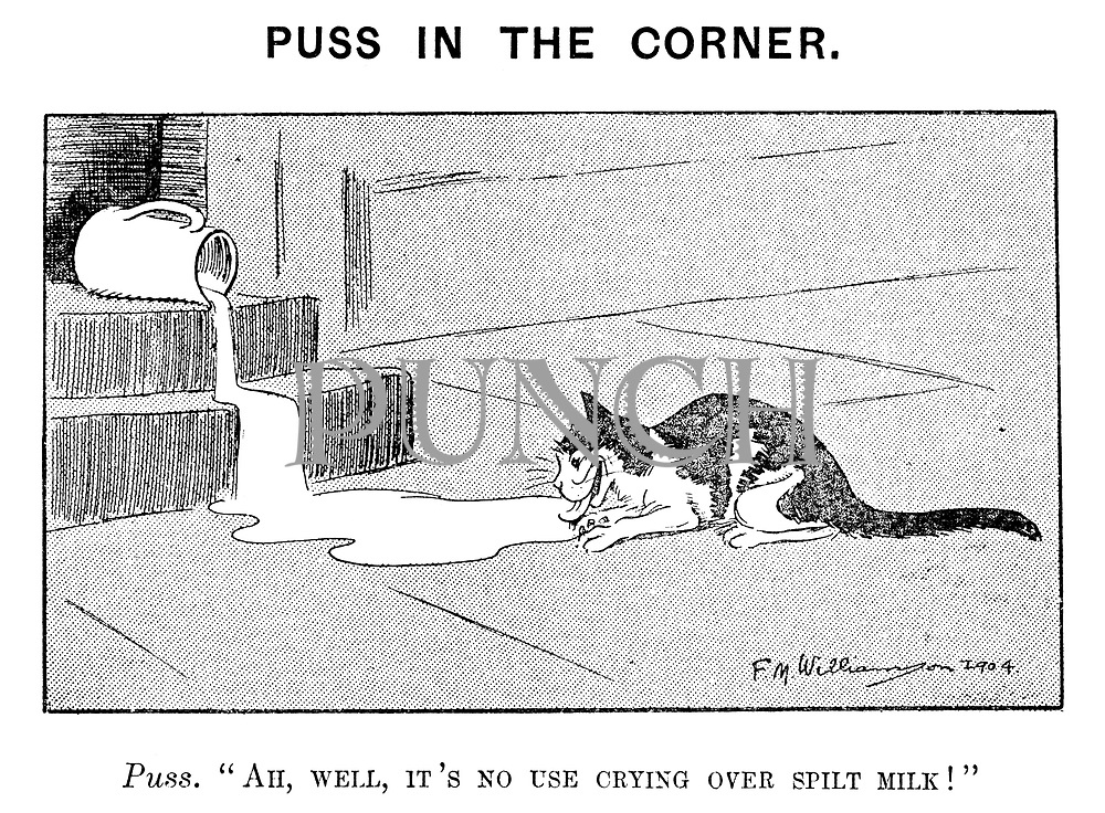 """Puss in the Corner. Puss. """"Ah, well, it's no use crying over spilt milk!"""""""