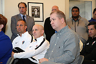 CARY, NC - FEBRUARY 28: Seated (from right): Soccer journalist Neil Morris, North Carolina Courage (NWSL) head coach Paul Riley, Courage assistant coach Scott Vallow, and (standing) NCFC Director of Communications Marco Rosa. The United States Men's National Team held a press conference on February 28, 2018 at Sahlen's Stadium at WakeMed Soccer Park in Cary, NC to preview an international friendly they will be playing in the stadium on March 27th.