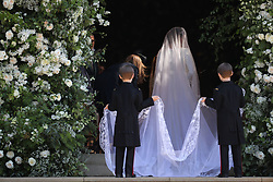 Meghan Markle and her bridal party arrive at St George's Chapel at Windsor Castle for her wedding to Prince Harry.