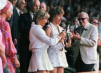 Tennis - 1976 Wimbledon Championships <br /> Womens doubles Final.<br /> Martina Navratilova and Chris Evert v Billie jean King and Betty Stove<br /> <br /> Martina Navratilova and Chris Evert (Winners) with their trophies