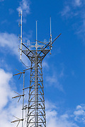 mobile radio base station antennas on  lattice tower <br />