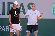Novak Djokovic (SRB) and Andre Kirk Agassi (USA) new trainer of Novak Djokovic (SRB) at practice on court 5 during the Roland Garros French Tennis Open 2017, preview, on May ......, 2017, at the Roland Garros Stadium in Paris, France - Photo Stephane Allaman / ProSportsImages / DPPI