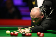 Stuart Bingham of England during his 2nd round match against Jackson Page, the 16 year old amateur from South Wales.   ManBetx Welsh Open Snooker 2018, day three at the Motorpoint Arena in Cardiff, South Wales on Wednesday 28th February 2018.<br /> pic by Andrew Orchard, Andrew Orchard sports photography.