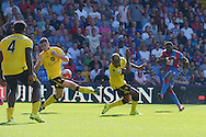 Bakary Sako of Crystal Palace ® shoots and scores his sides second goal of the match to make it 2-1. Barclays Premier league match, Crystal Palace v Aston Villa at Selhurst Park in London on Saturday 22nd August 2015.<br /> pic by John Patrick Fletcher, Andrew Orchard sports photography.