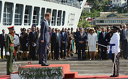 Prince Harry arrives at the Kingstown Cruise Terminal Pier on the island of Saint Vincent and the Grenadines, during the second leg of his Caribbean tour.