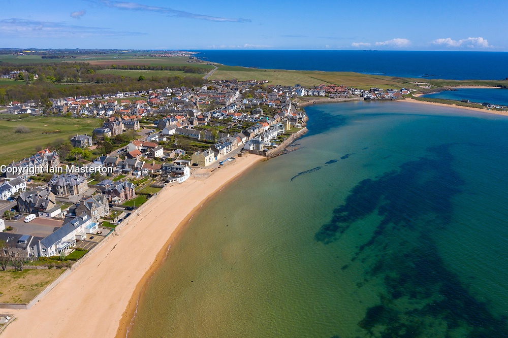 Aerial view of village and beach at Elie in East Neuk of Fife, Scotland, UK