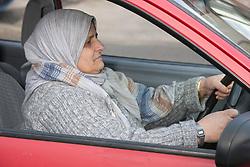 Elderly south Asian woman driving a car.