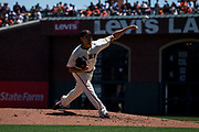 San Francisco Giants starting pitcher Matt Moore (45) pitches against the Los Angeles Dodgers at AT&T Park in San Francisco, California, on April 27, 2017. (Stan Olszewski/Special to S.F. Examiner)