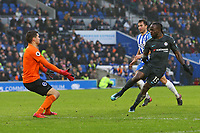Football - 2017 / 2018 Premier League - Brighton and Hove Albion vs. Chelsea<br /> <br /> Victor Moses of Chelsea flicks the ball past Mathew Ryan of Brighton to score Chelseas fourth at The Amex Stadium Brighton <br /> <br /> COLORSPORT/SHAUN BOGGUST