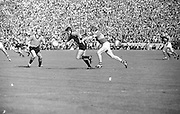 All Ireland Senior Football Championship Final, Kerry v Down, 22.09.1968, 09.22.1968, 22nd September 1968, Down 2-12 Kerry 1-13, Referee M Loftus (Mayo)..Down forward J Murphy (center) has the ball in full flight for the Kerry goalmouth with Down captain Joe Lennon on left ,