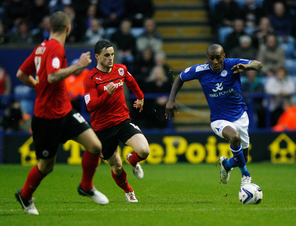 Leicester City's Lloyd Dyer (R) in action   ..Football - npower Football League Championship - Leicester City v Cardiff City - Saturday 22nd December 2012 - The King Power Stadium - Leicester..© CameraSport - 43 Linden Ave. Countesthorpe. Leicester. England. LE8 5PG - Tel: +44 (0) 116 277 4147 - admin@camerasport.com - www.camerasport.com