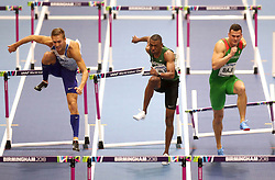 Great Britain's David King (Left), Saudi Arabia's Ahmad Mohamed Al Moualed and Hungary's Balazs Baji (right) compete during Heat 1 of the Men's 60 Metres Hurdles during day four of the 2018 IAAF Indoor World Championships at The Arena Birmingham.