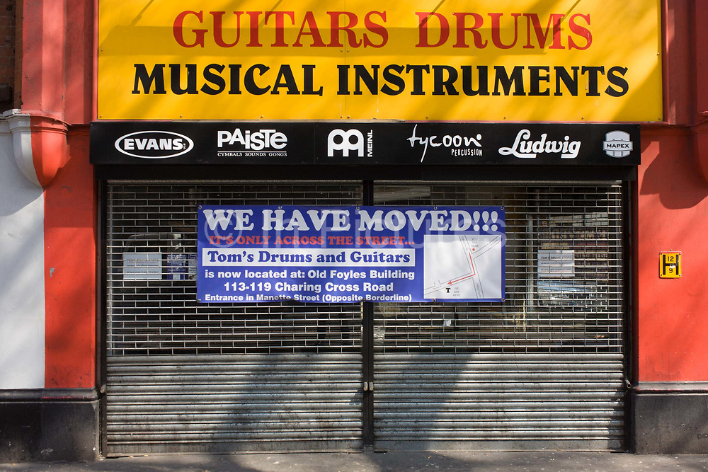 A music shop has moved from Denmark Street in London's famous Tin Pan Alley, a result of lease issues and rent hikes. A sign stretches across the width of the shutters telling customers that business has moved away from this iconic street known in the music industry as the centre of music publishing and musical instruments, primarily guitars, percussion, keyboards and sheet music. Pop music stars and rock bands like Elton John and the Rolling Stones have had their careers launched from Denmark Street where those who controlled the music business had their offices. With the disappearance of these businesses, come cafes and a gentrification that will soon see Tin Pan Alley as quirky in name only.