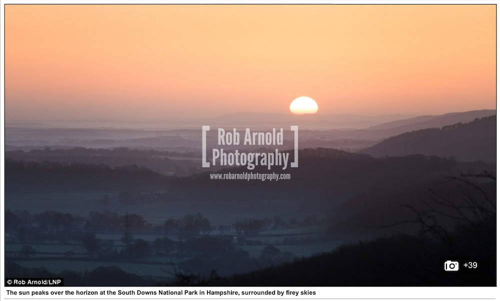 Sunrise over the South Downs National Park