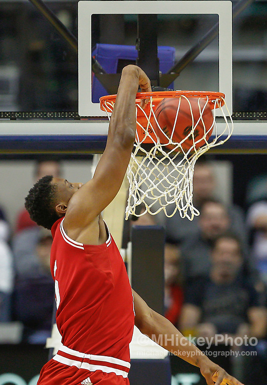 INDIANAPOLIS, IN - DECEMBER  20: Troy Williams #5 of the Indiana Hoosiers dunks the ball against the Butler Bulldogs at Bankers Life Fieldhouse on December 20, 2014 in Indianapolis, Indiana. Indiana defeated Butler 82-73. (Photo by Michael Hickey/Getty Images) *** Local Caption *** Troy Williams
