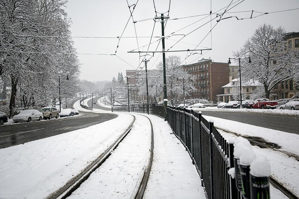Snowstorm in Boston, MA.