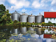 A pastoral scene, Four Silos, a barn and a cloudy blue sky reflected in the glassy surface of a Pennsylvania pond, USA