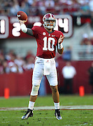 TUSCALOOSA, AL - NOVEMBER 10:  Quarterback AJ McCarron #10 of the Alabama Crimson Tide throws a pass during the game against the Texas A&M Aggies at Bryant-Denny Stadium on November 10, 2012 in Tuscaloosa, Alabama.  (Photo by Mike Zarrilli/Getty Images)