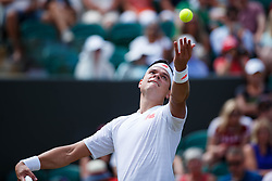 July 4, 2018 - London, U.S. - LONDON, ENGLAND - JULY 04: MILOS RAONIC (CAN) during day three match of the 2018 Wimbledon Championships on July 4, 2018, at All England Lawn Tennis and Croquet Club in London, England. (Photo by Chaz Niell/Icon Sportswire) (Credit Image: © Chaz Niell/Icon SMI via ZUMA Press)