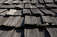 Detail of a wooden roof. Traditional Hmong's ethnic house. Ethnology museum, Hanoi, Vietnam, Asia.