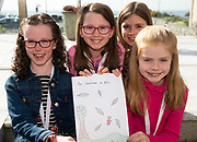 07/04/2019 repro free: Lily Ní Lanagàin <br /> Caoimhe Ní Cholmàin, Holly O'Shaughnessy, Grace Ní Dhuillín from Gael Scoil Dara with their Book  at Scriobh Leabhair organised by The Galway Education centre and help at the Salthill Hotel  . Photo: Andrew Downes, Xposure