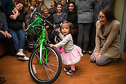 Annual Bicycle No Cavity winner receives his bike at Dr. Rabitz Pediatric Dentistry in San Jose, California, on November 14, 2016. (Stan Olszewski/SOSKIphoto)