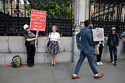 Pro Brexit protesters part of the same scene as people who have been attending a private function inside the Houses of Parliament mill around, meanwhile the Tory leadership race continues on 17th June 2019 in London, England, United Kingdom.