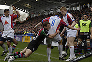 """Twickenham, GREAT BRITAIN, Quins Andy GOMARSALL, drags down Brian O""""RIORDAN as he attemps a clearance kick on his goal line, during the Guinness Premieship match, NEC Harlequins vs Bristol Rugby, at the Twickenham Stoop Stadium, England, on Sat 24.02.2007  [Photo, Peter Spurrier/Intersport-images]....."""