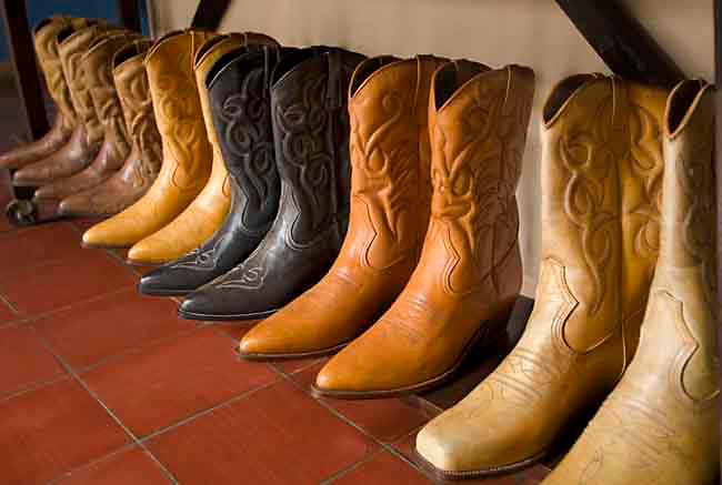 Leather cowboy boots for sale at the Masaya Market in Masaya, Nicaragua.