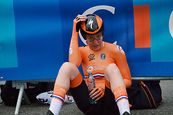 Anna van der Breggen (NED) catches her breath after winning the 2020 UEC Road European Championships - Elite Women ITT, a 25.6 km individual time trial in Plouay, France on August 24, 2020. Photo by Sean Robinson/velofocus.com