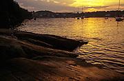 Sunset over Rockport harbor, Maine.