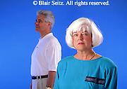Active Aging Senior Citizens, Retired, Activities, Informal Portrait Elderly Couple Thoughtful, Decisions, Couple Apart