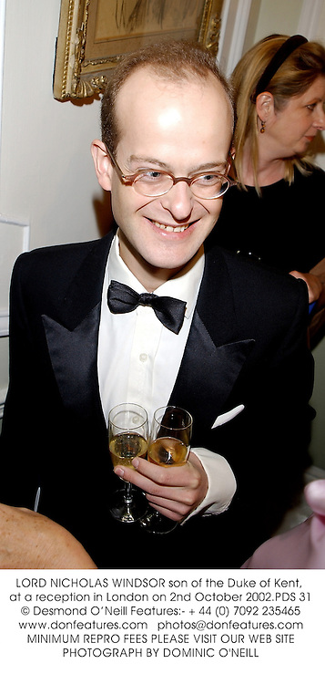 LORD NICHOLAS WINDSOR son of the Duke of Kent, at a reception in London on 2nd October 2002.PDS 31
